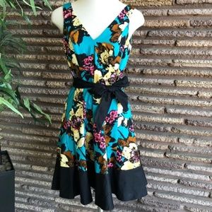 Nine West Floral Fit and Flare Sleeveless Dress